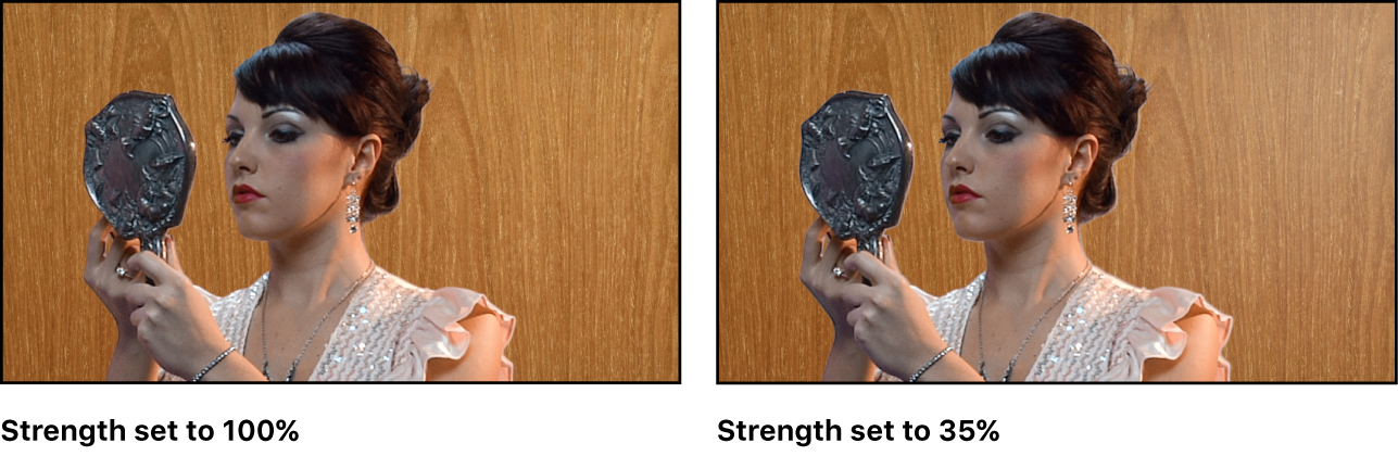 Comparison of two keyed images in the canvas. In the first example, Strength is set to 100 percent. In the second example, Strength is set to 35 percent.
