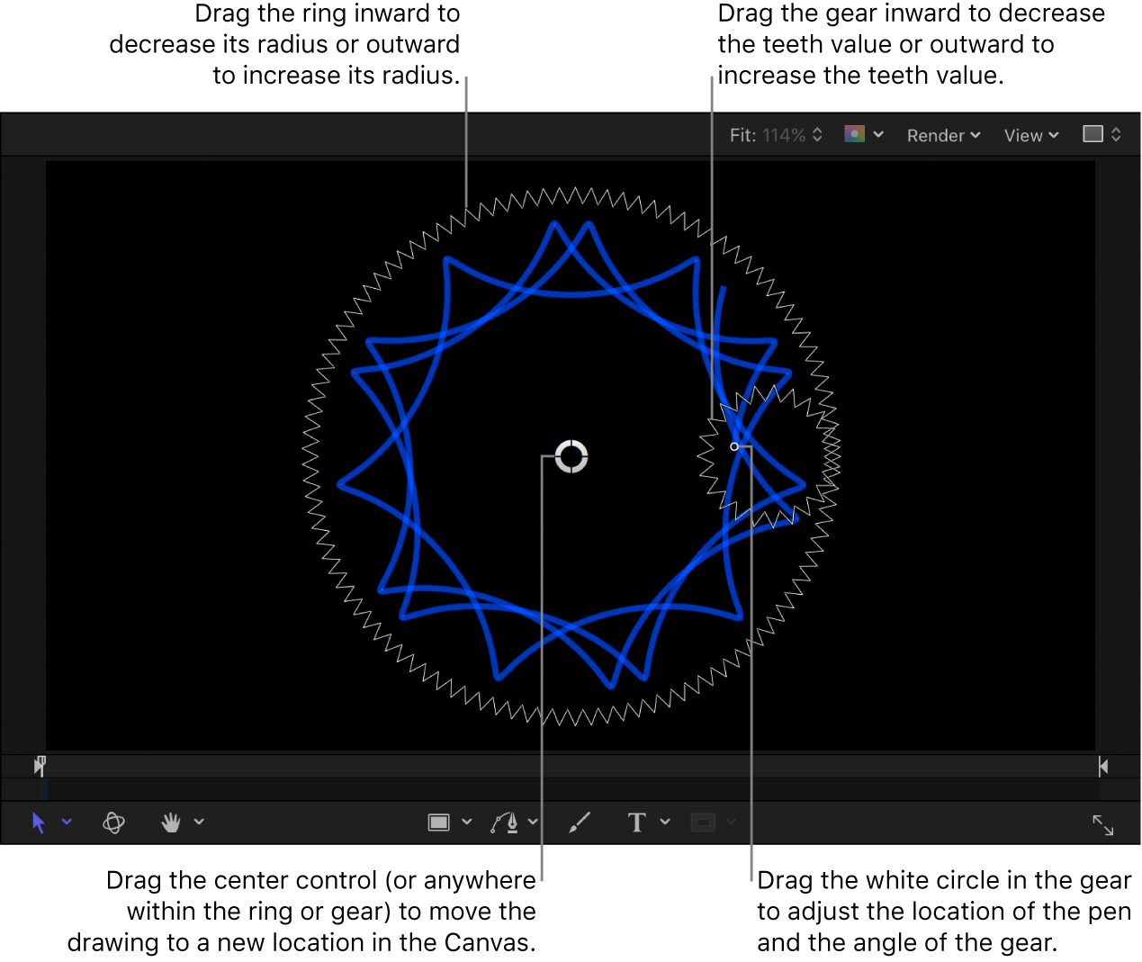 Canvas showing Spiral Drawing onscreen controls