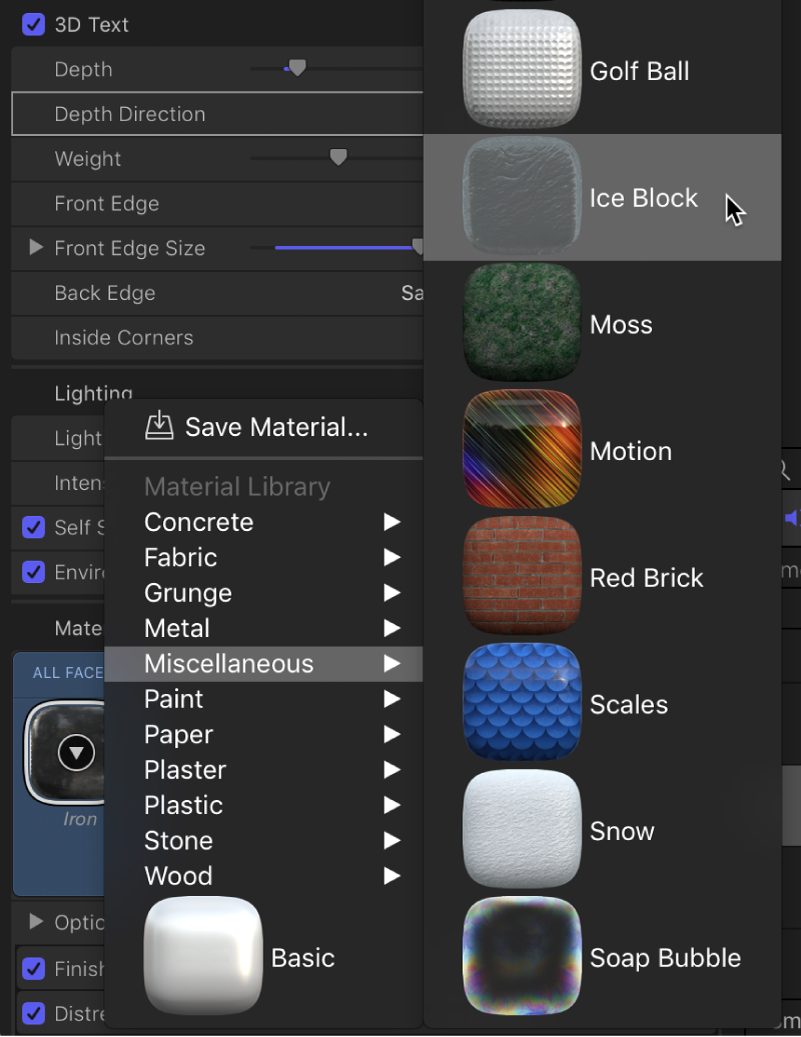 Choosing Yellow Plastic from the Material preview thumbnail