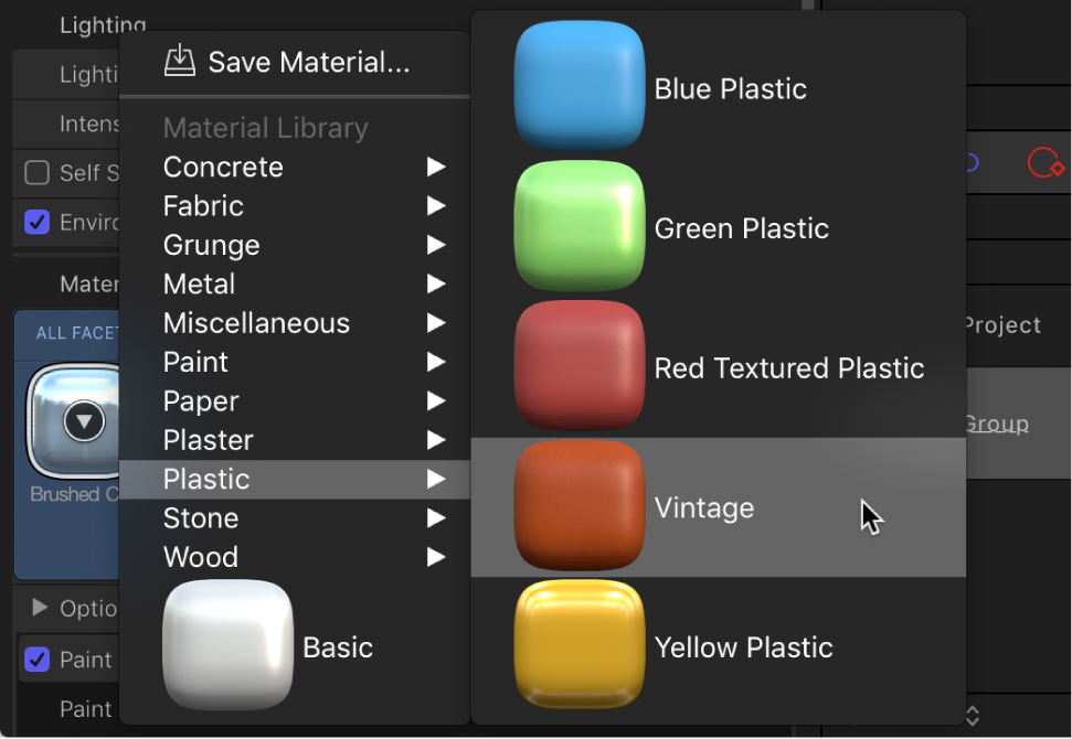 3D Text Inspector showing Material preset pop-up menu