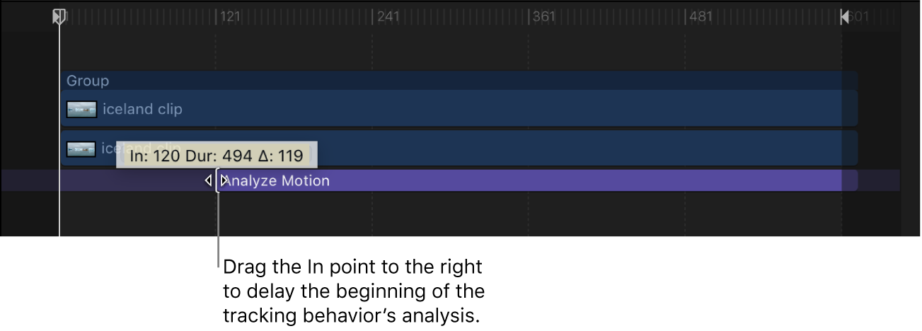 Adjusting the In point of a tracking behavior in the Timeline