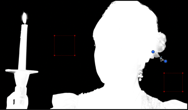 Adjusting the Edges control in the canvas; the keyed image is set to Matte view
