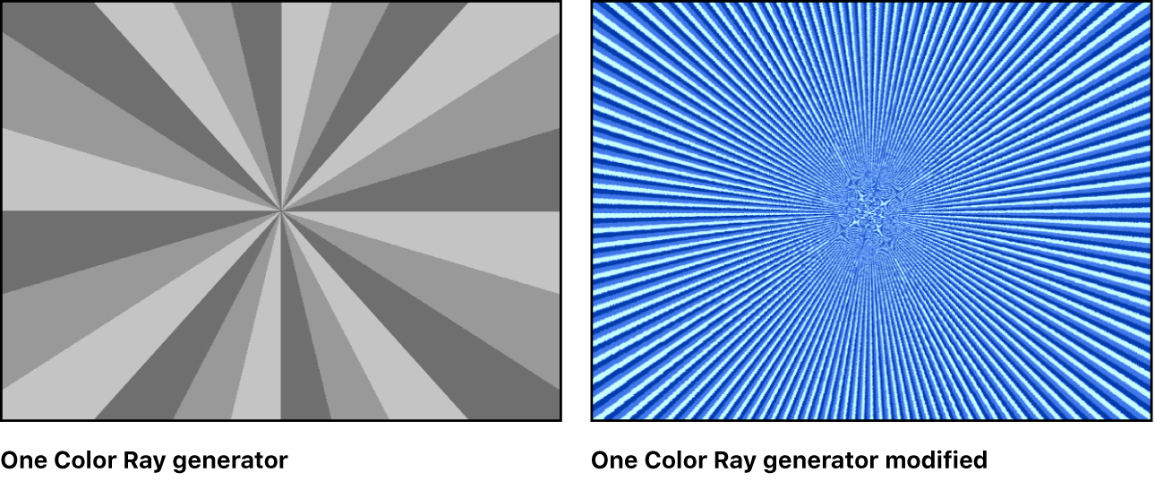 Canvas showing One Color Ray generator with a variety of settings