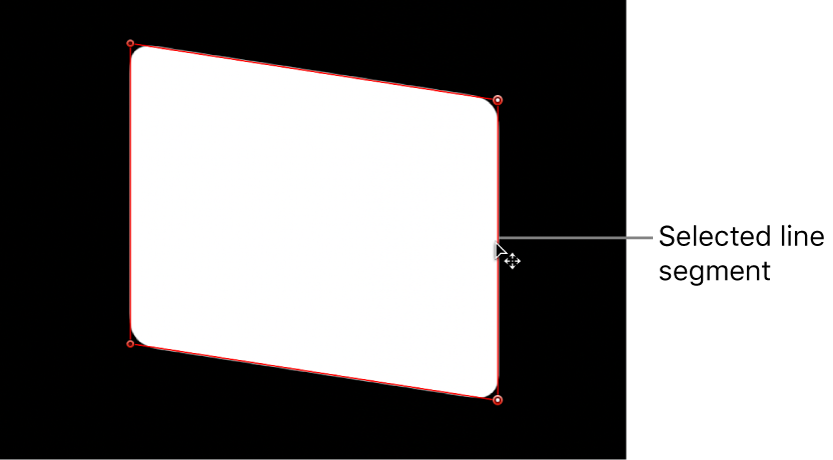 Canvas showing line segment being adjusted