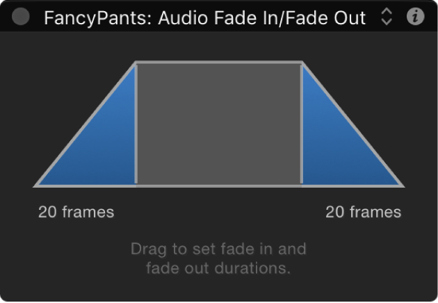 HUD showing Audio Fade In/Fade Out behavior controls