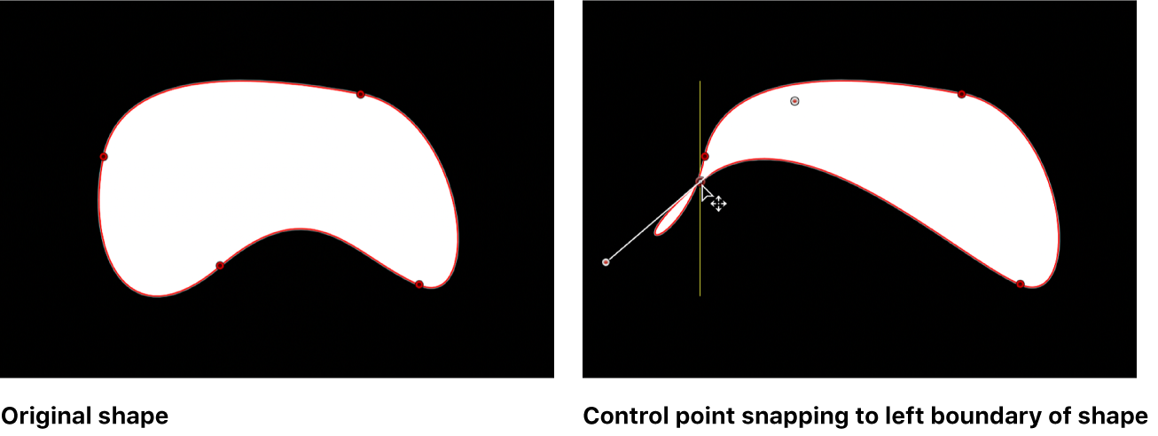 Canvas showing Bezier shape with a guide appearing when control point is aligned with another control point on same shape