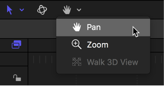 Selecting Pan from the View Tools pop-up menu