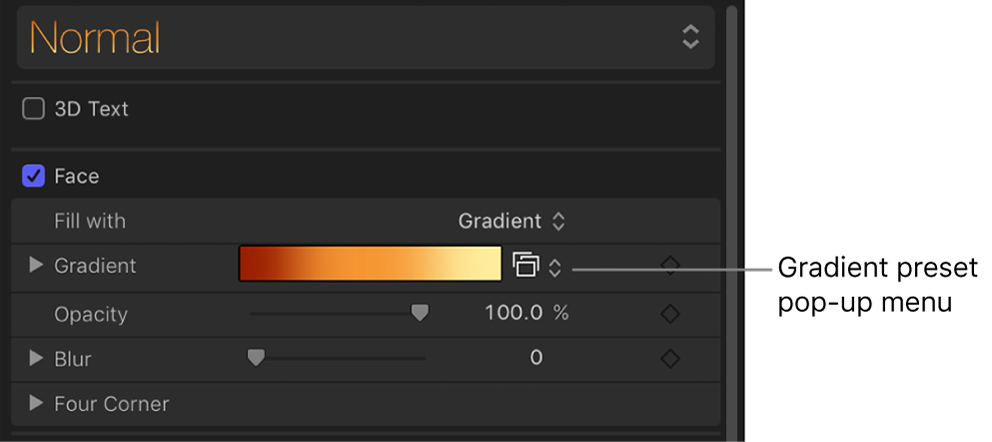 """Gradient preset pop-up menu that appears when """"Fill with"""" pop-up menu is set to Gradient"""