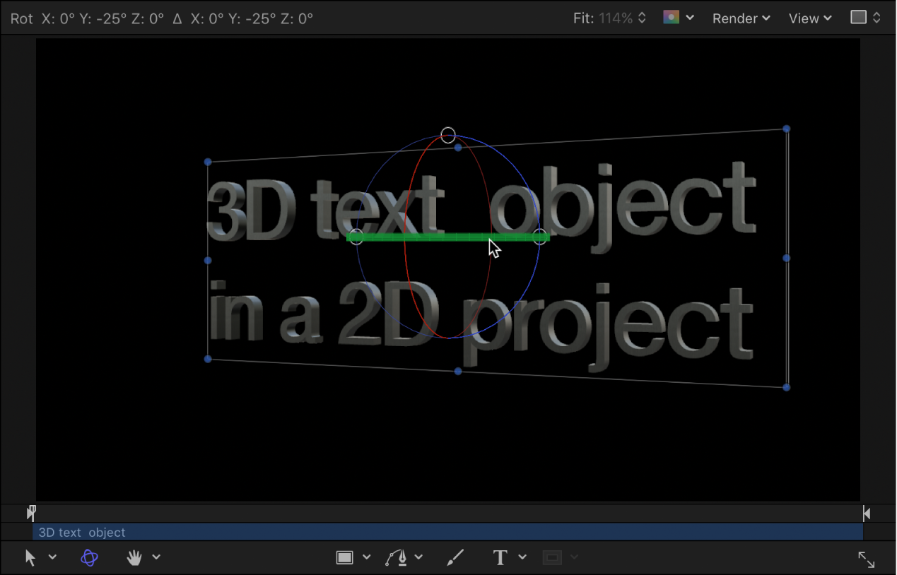 Canvas showing example of rotated 3D text in a 3D project