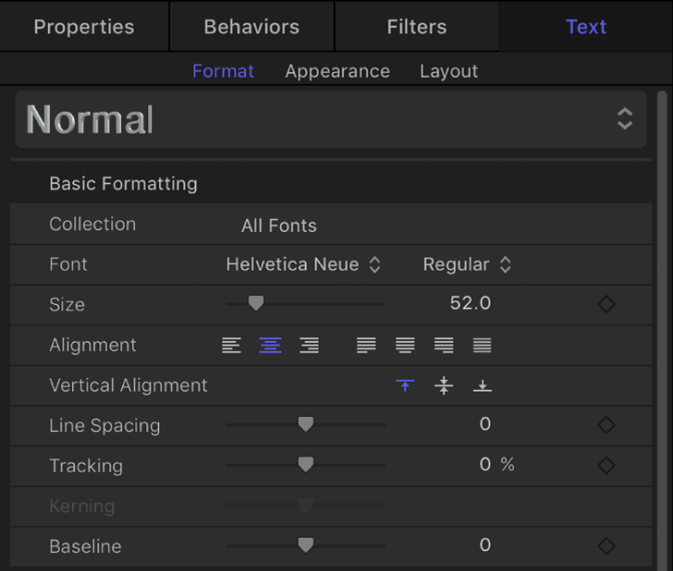Basic Formatting controls in the Format pane of the Text Inspector