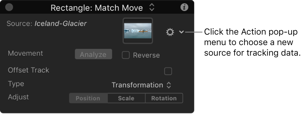 HUD showing Match Move behavior parameters with Action pop-up menu active