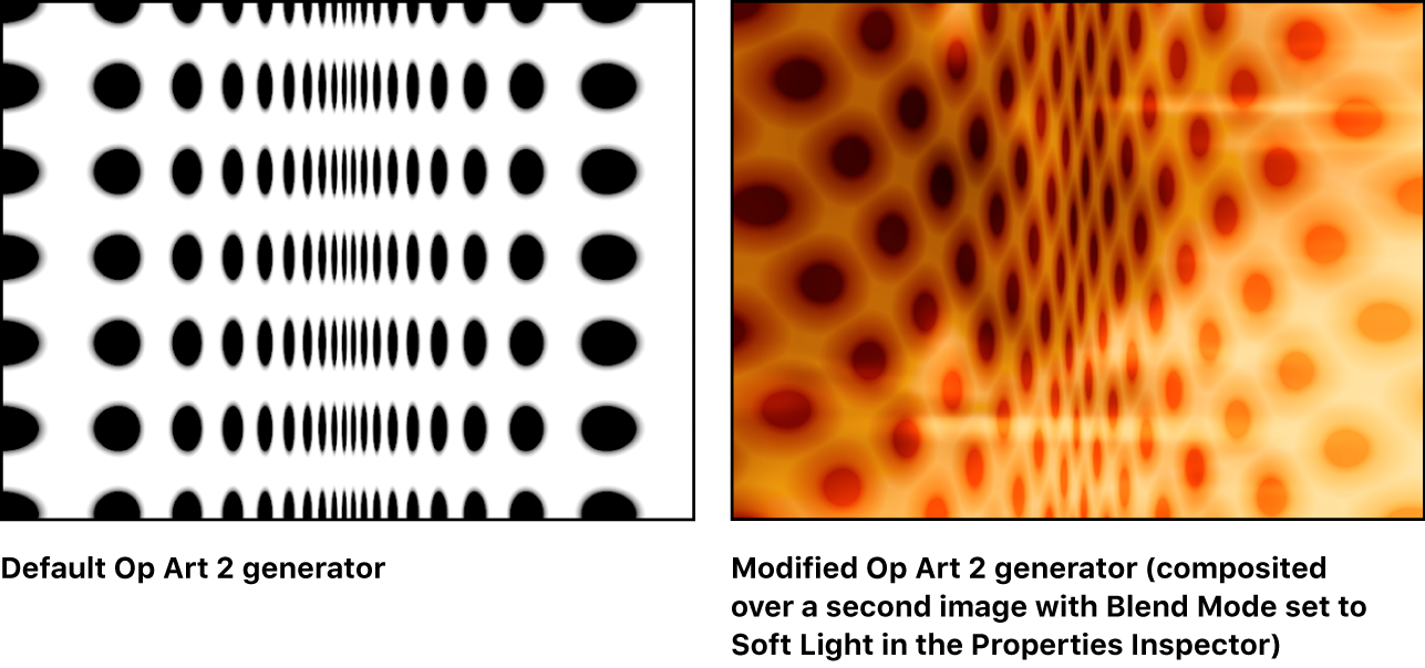 Canvas showing Op Art 2 generator alone and combined with another image