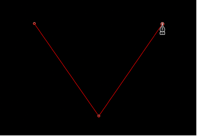 Canvas showing linear corner point
