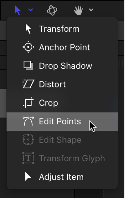 Selecting the Edit Points tool from the transform tools pop-up menu