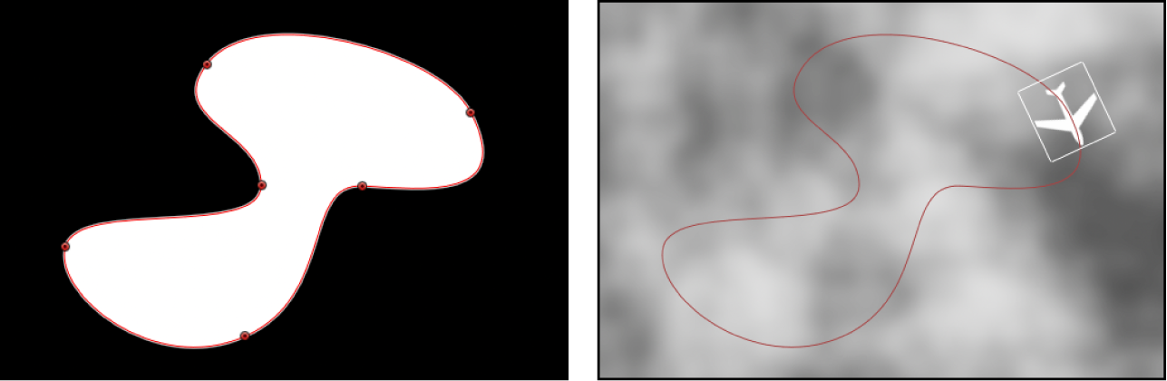 Canvas showing shape layer used as shape source for a Motion Path behavior