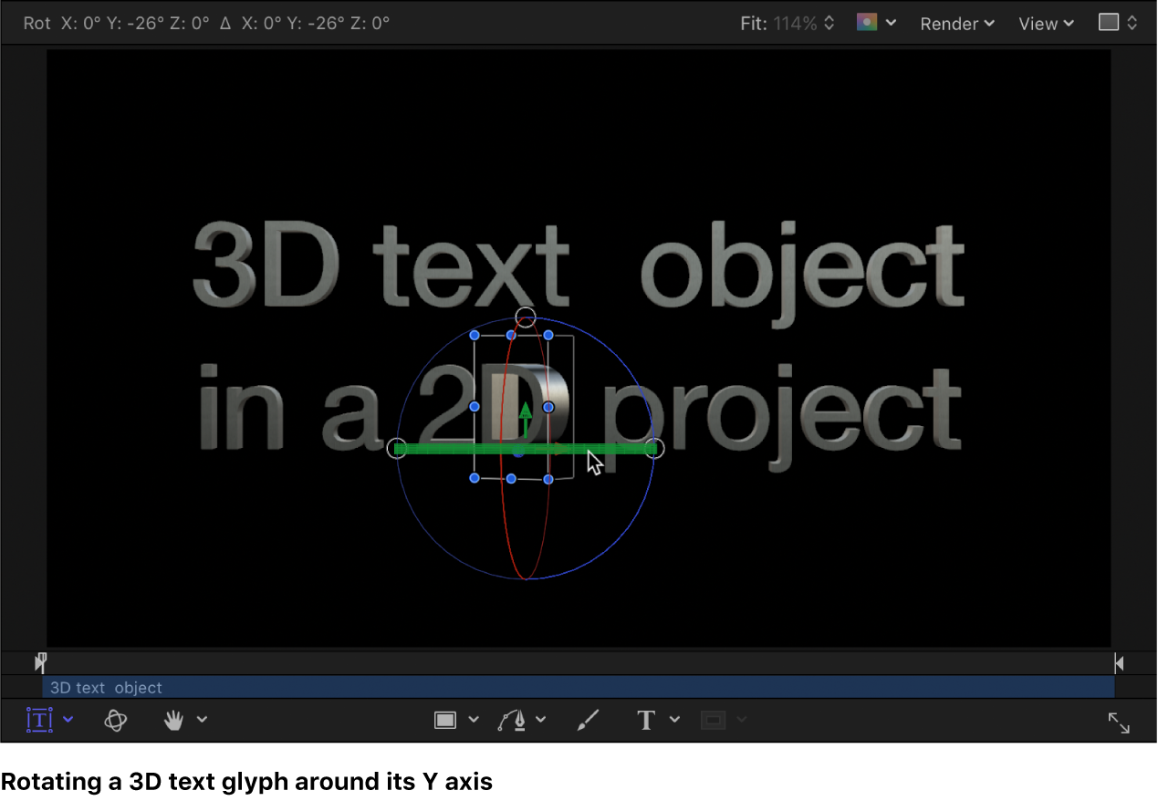Rotating a 3D text glyph along the X axis in the canvas