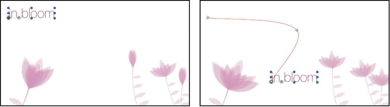 Canvas showing selected object and its animation path