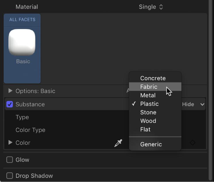 3D Text Inspector showing Substance pop-up menu