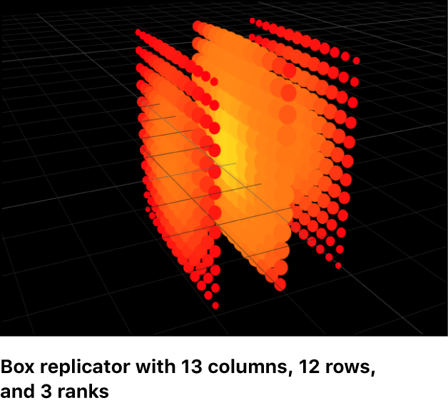 Canvas showing replicators in 3D space