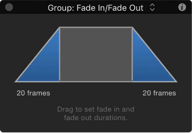 HUD showing Fade In/Fade Out behavior controls