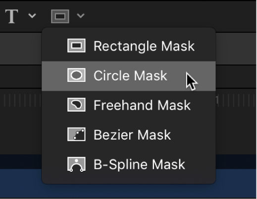 Selecting the Circle Mask tool from the mask shape tools in the canvas toolbar