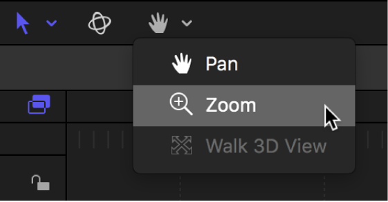 Selecting the Zoom tool from the view tools pop-up menu