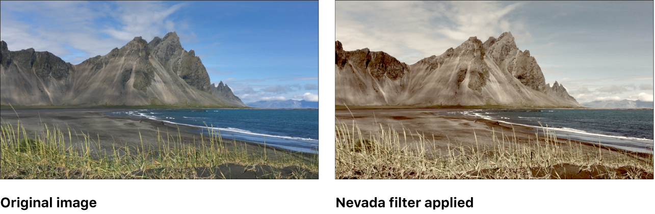 Canvas showing effect of Nevada filter