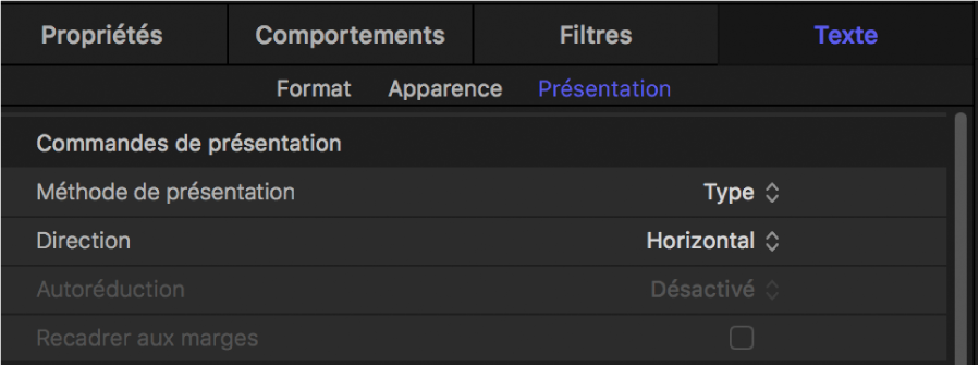 Commandes de présentation dans la fenêtre Présentation de l'inspecteur de texte