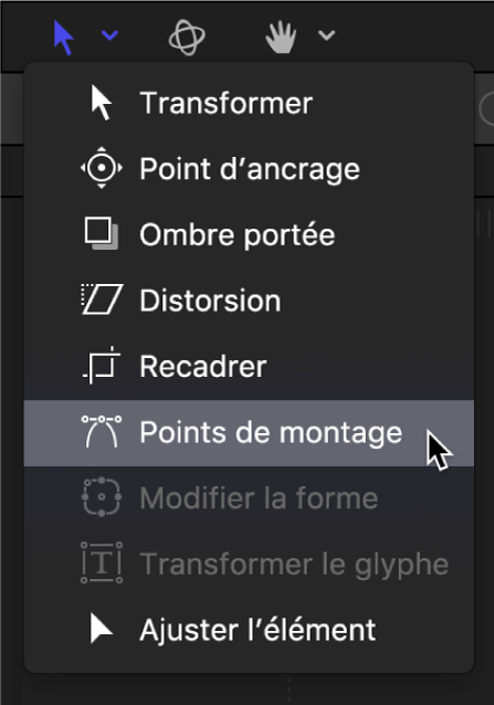 Sélection de l'outil Points de montage dans les outils de transformation de la barre d'outils du canevas
