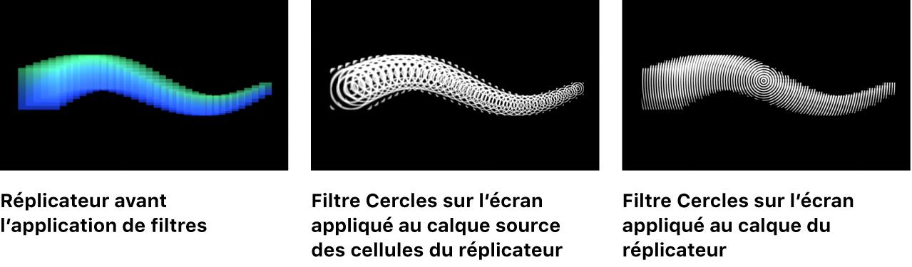Canevas affichant une comparaison «avant et après» de réplicateurs avec filtre appliqué au calque de cellule source