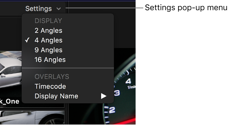 The Settings pop-up menu in the angle viewer
