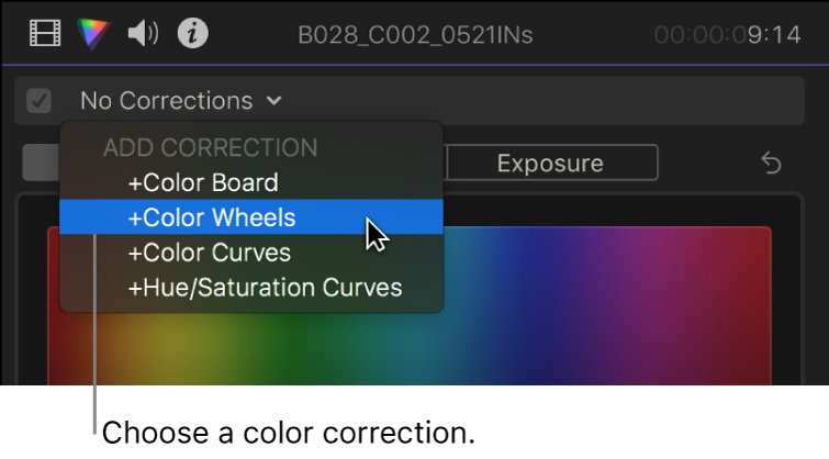 The Add Correction section of the pop-up menu at the top of the Color inspector