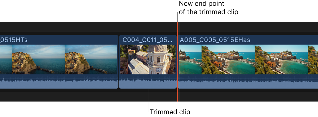 A clip trimmed to the skimmer position in the timeline