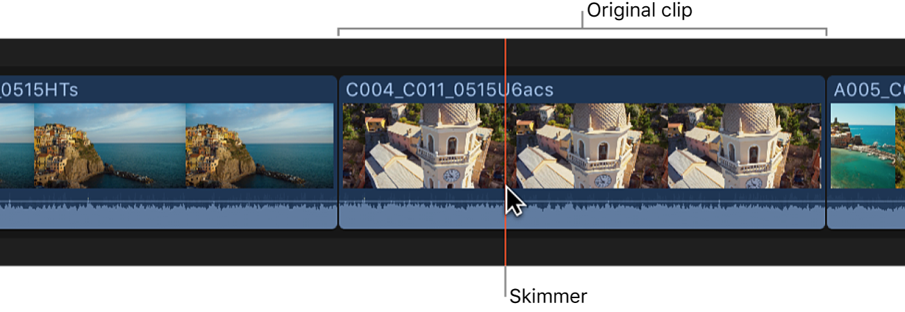 The skimmer positioned on a clip in the timeline