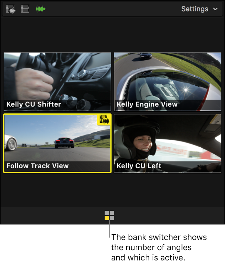 The bank switcher icon showing the active angle