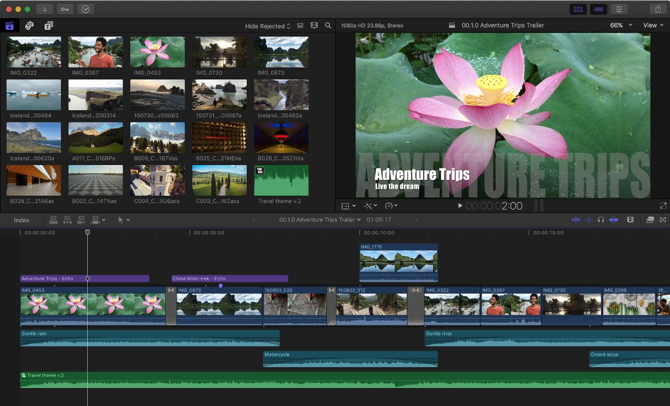 The Final Cut Pro window showing the browser, viewer, and timeline