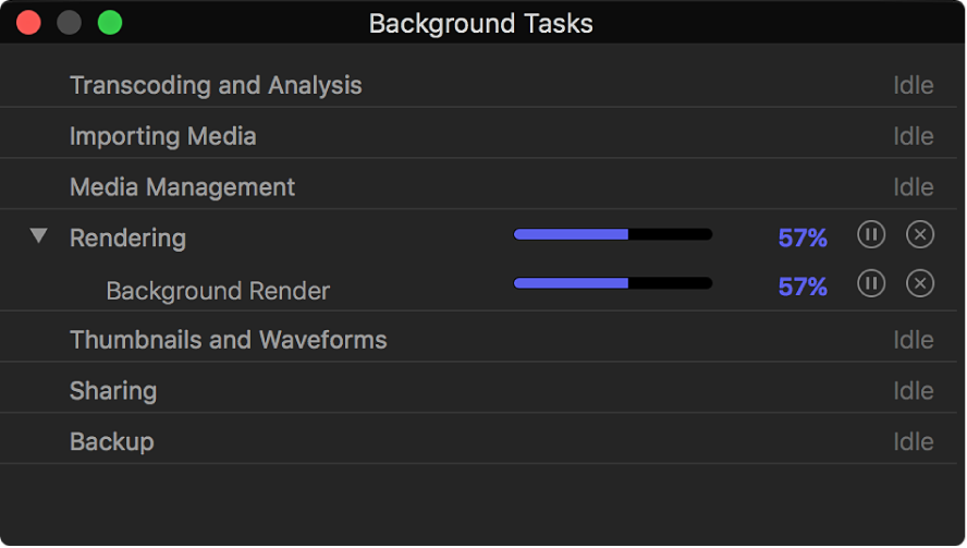 The Background Tasks window