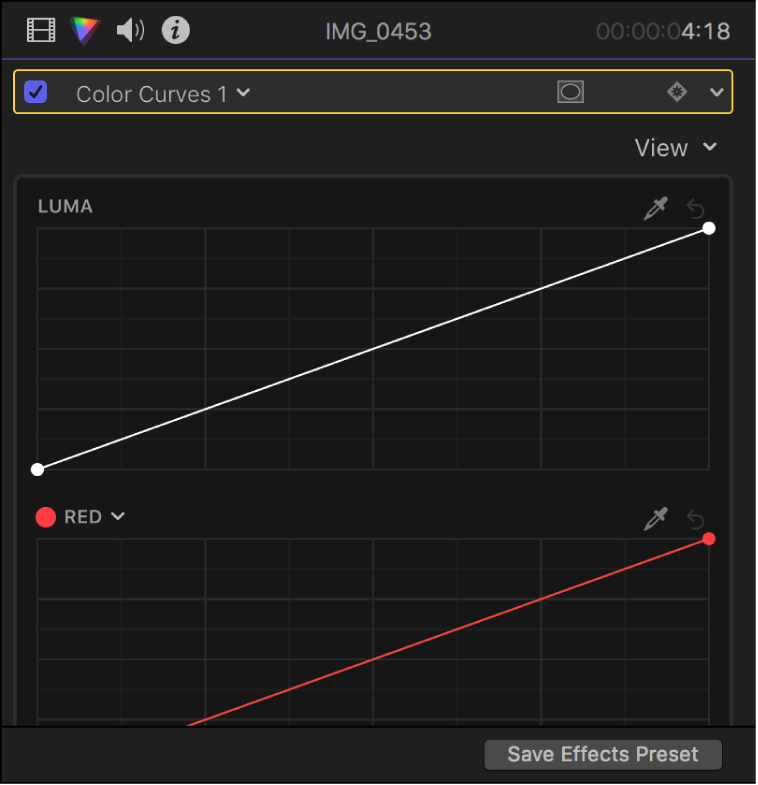 Color curves in the Color inspector