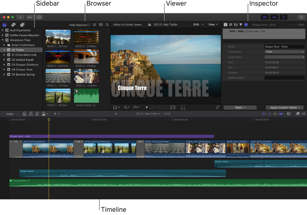 The Final Cut Pro window showing the sidebar, browser, viewer, inspector, and timeline