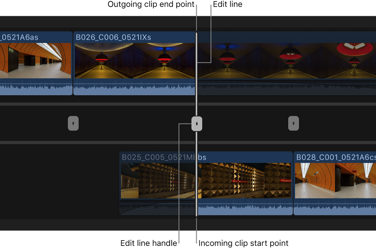 The precision editor open in the timeline, showing a handle for adjusting an edit point