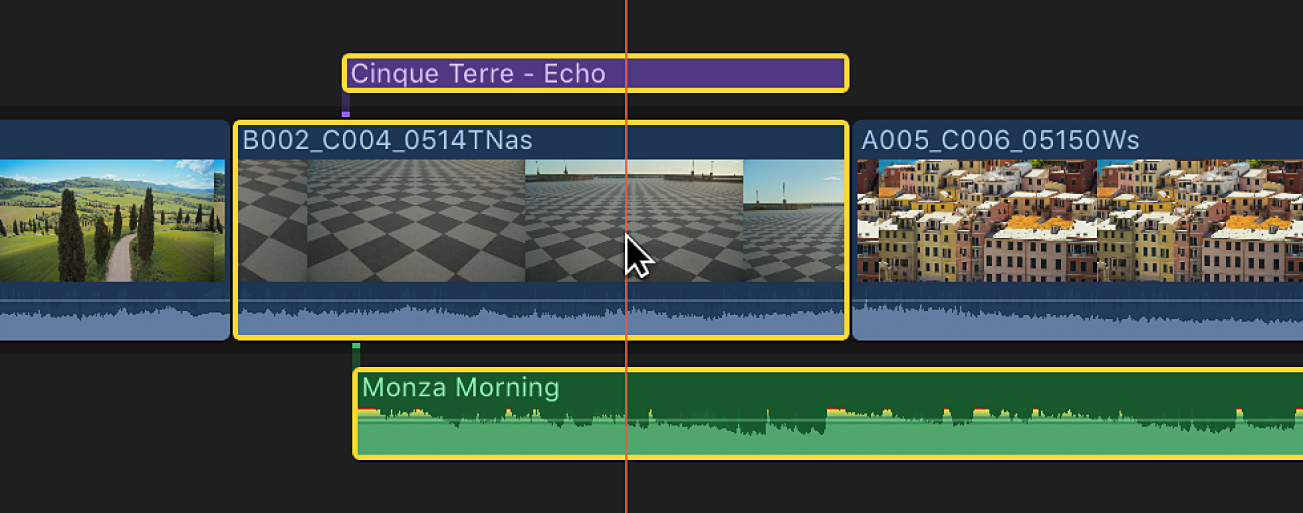 The skimmer positioned over multiple clips in the timeline
