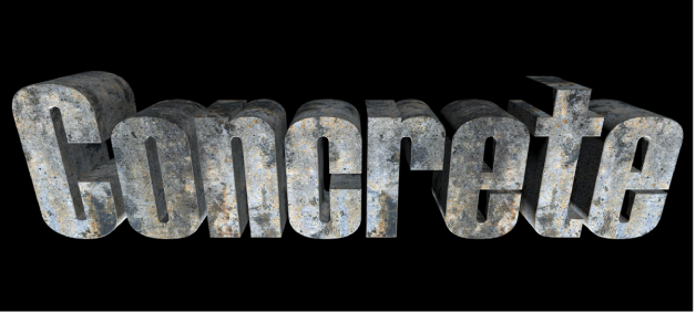 3D text in the viewer with the Concrete substance applied