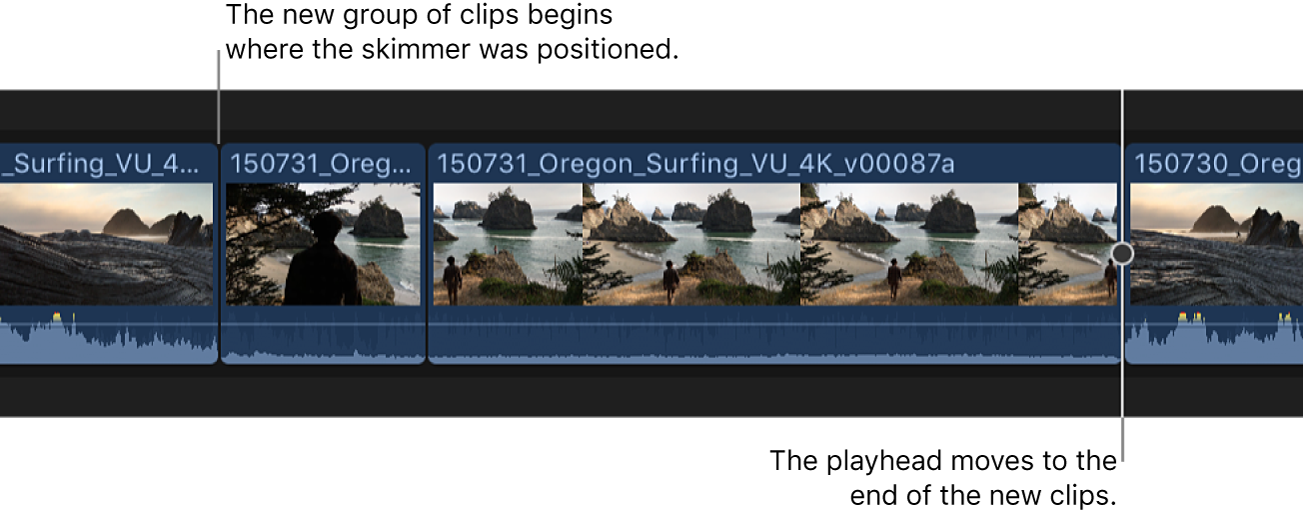 Two clips from the browser shown added to the timeline starting at the skimmer position