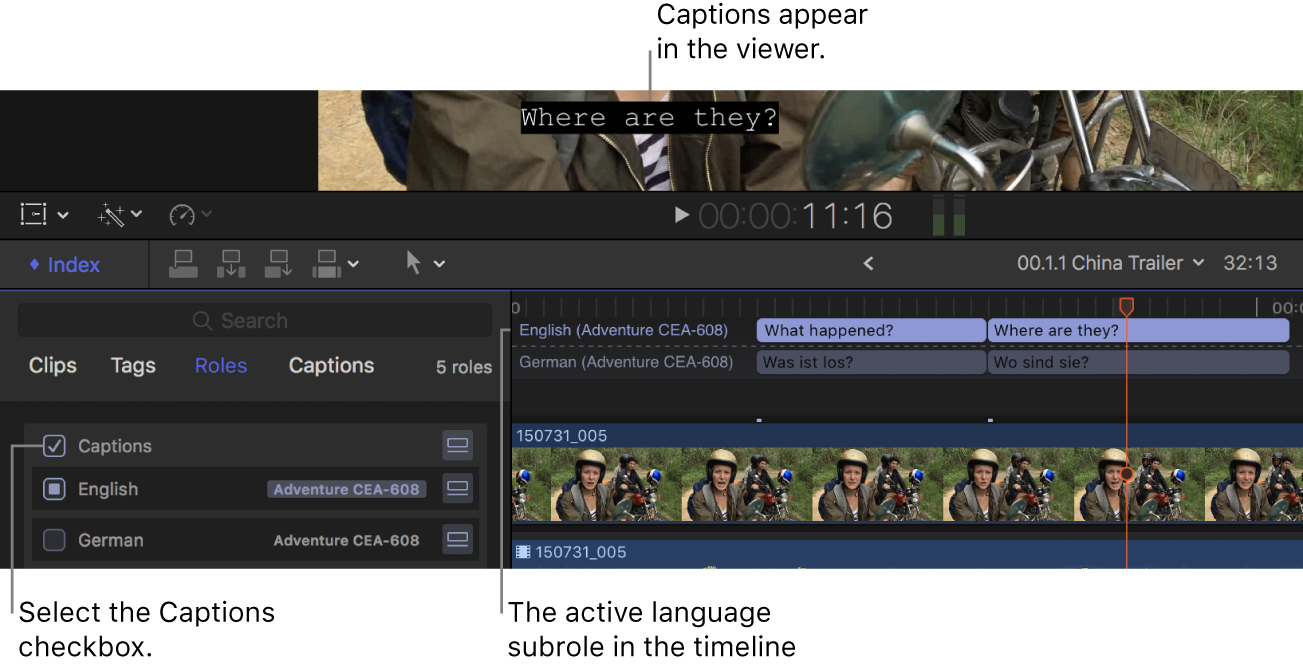 The Captions checkbox selected in the timeline index, and a caption from the active language subrole displayed in the viewer