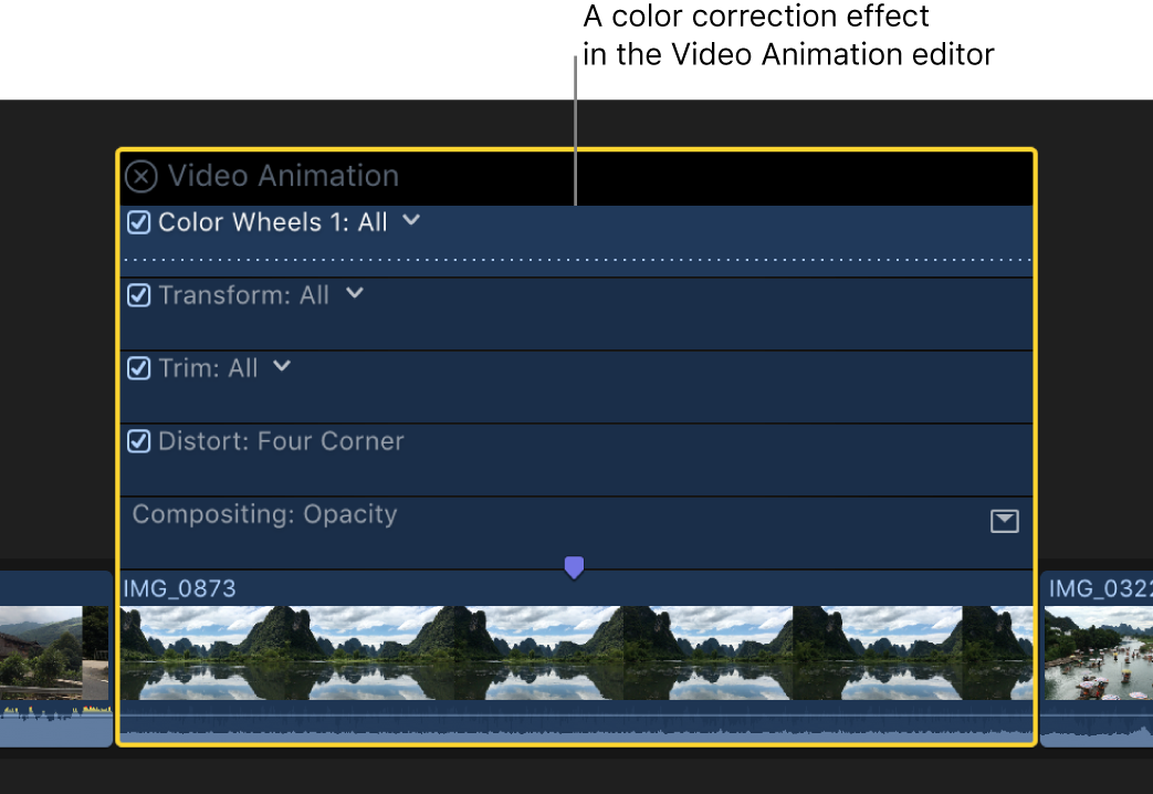 A color correction effect in the Video Animation editor shown above a video clip in the timeline