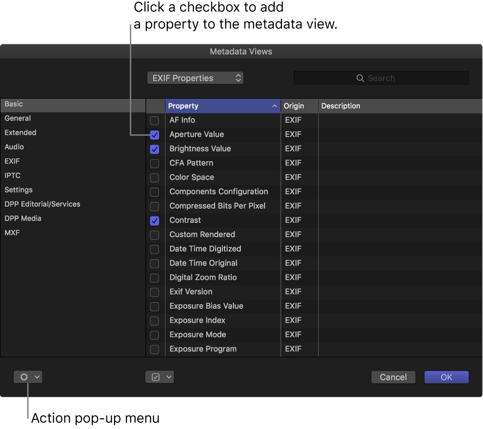 Property checkboxes in the Metadata Views window