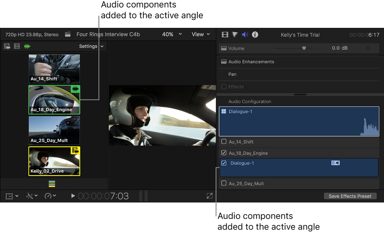 Added audio components shown highlighted in the angle viewer and the Audio inspector