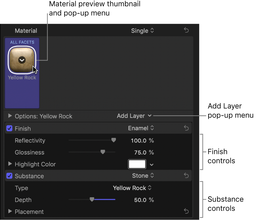 The Material section of the Text inspector
