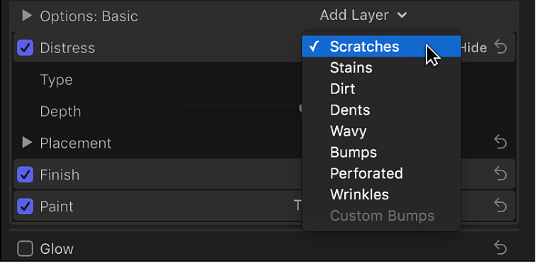 The Distress pop-up menu in the Material section of the Text inspector
