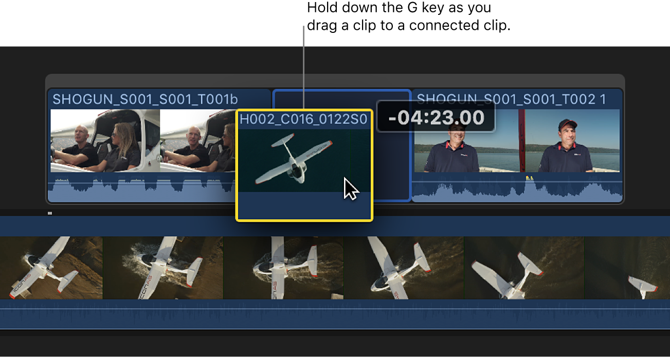 A clip being dragged to a connected clip while the G key is held down, creating a storyline